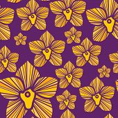 Violet seamless pattern with yellow tropical orchids