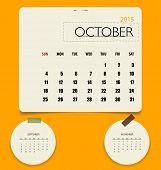 2015 calendar, monthly calendar template for October. Vector illustration.