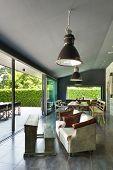 Interior, modern house, dining room. vintage furniture
