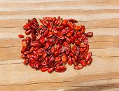 Chile Piquin hot chili pepper on wooden background