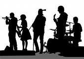 stock photo of reggae  - Group and singer of rock band on white background - JPG