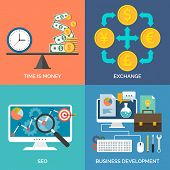 Set Of Flat Design Concept Icons For Business. Time Is Money, Exchange, Seo And Business Development