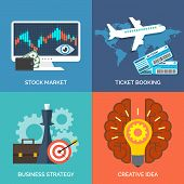Set Of Flat Design Concept Icons For Business. Stock Market, Ticket Booking, Business Strategy And C