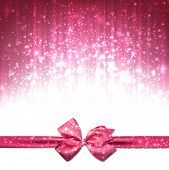 Pink winter abstract background. Christmas background with ribbon and bow. Vector.