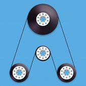 A vector illustration of a recordable bobbin of tape cassette. Letter A