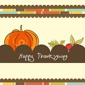 Vintage poster design with pumpkin and stylish text on abstract background for Happy Thanksgiving Day celebration.