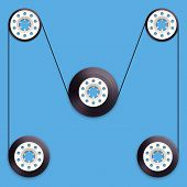 A vector illustration of a recordable bobbin of tape cassette.. Letter M