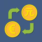 Currency Exchange. Euro And Yuan.