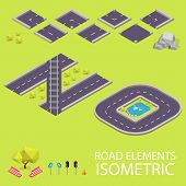 Road elements isometric. Road font. Letters N and O