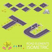 Road elements isometric. Road font. Letters T and U
