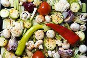 Prepared vegetables .