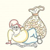 Young man cartoon in Santa cap with gift sack on beige background for  Merry Christmas and other occasion celebration.