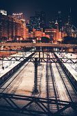 picture of illinois  - City of Chicago at Night. Illinois Railroads. Skyline Chicago Illinois United States.