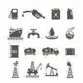stock photo of fuel tanker  - Petroleum industry black icon set with fuel tanker transportation terminal drilling well isolated vector illustration - JPG