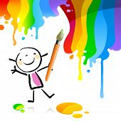 stock photo of little school girl  - Little girl painting with spectrum colors - JPG