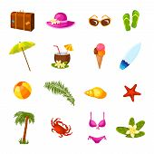 pic of milk  - Beach time vacation surf coconut milk holiday paradise weekend bikini party multicolored icons set isolated vector illustration - JPG