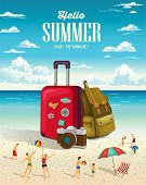 picture of summer beach  - Summer beach holiday vector background - JPG