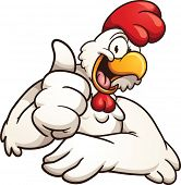 foto of roosters  - Cartoon chicken giving the thumbs up - JPG