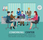 stock photo of coworkers  - Coworking center concept with business people freelancers on the table vector illustration - JPG