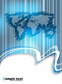 stock photo of fantasy world  - Striped and scribbled business brochure design with world map - JPG