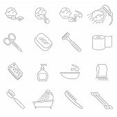 picture of personal hygiene  - Personal hygiene decorative icons outline set with razor scissors toothbrush hairbrush isolated vector illustration - JPG