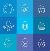picture of nature conservation  - set of water drops  - JPG