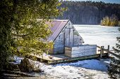 image of shacks  - Historical loggers cook shack on display in the Huron National Forest in Michigans Lower Peninsula - JPG