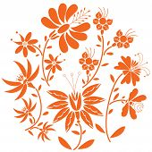 stock photo of eastern culture  - Floral folk pattern in circle containing set of orange - JPG