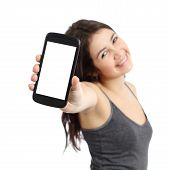 pic of promoter  - Happy promoter girl showing a blank smart phone screen isolated on a white background