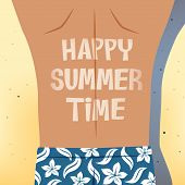 pic of hot pants  - Man with flower pattern blue short pants sunbathing on the beach with sunburned word happy summer time on his back - JPG