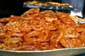 picture of ghee  - Indian popular sweets Jalebi on the street market - JPG
