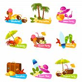 stock photo of beach party  - Beach time vacation surfing holiday paradise weekend bikini party emblems set isolated vector illustration - JPG