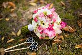 image of gladiolus  - Colorful wedding bouquet with roses and gladiolus on the grass - JPG