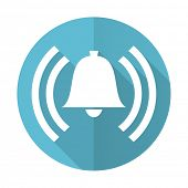picture of blue-bell  - alarm blue flat icon alert sign bell symbol  - JPG