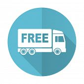 pic of free-trade  - free delivery blue flat icon transport sign  - JPG