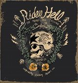 stock photo of skull  - skull rider flower illustration - JPG