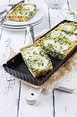 stock photo of tarts  - Mozzarella Spinach Tarte - JPG