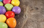 pic of laying eggs  - Illustration of mini eggs laying on a slate table created using median noise reduction - JPG