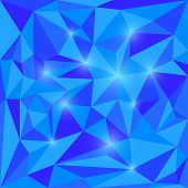 image of jade blue  - Abstract bright spectral blue colored polygonal triangular background with glaring lights for use in design for card invitation poster banner placard or billboard cover - JPG