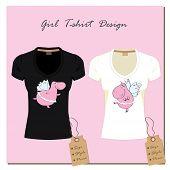stock photo of hippopotamus  - white and black design girl - JPG