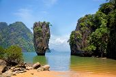 stock photo of james bond island  - Khao Phing Kan is a pair of islands on the west coast of Thailand in the Phang Nga Bay Andaman Sea near Phuket - JPG