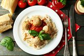 stock photo of meatball  - Pasta with meatballs on plate - JPG