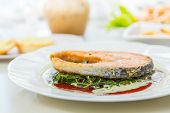 image of salmon steak  - Grilled Salmon Steak with Spinach - JPG