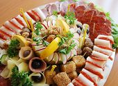 stock photo of buffet  - picture of a delicatessen cold cuts buffet - JPG