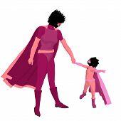 African American Super Hero Mom Illustration Silhouette