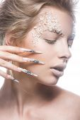stock photo of nail-design  - Beautiful fashion model with long nails - JPG