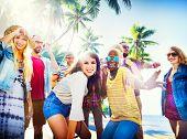picture of break-dance  - Friends Summer Beach Party Dancing Concept - JPG