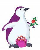 Pingüino con regalo y rosa
