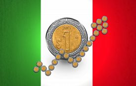 stock photo of pesos  - Mexican Peso coins arranged like a growth arrow in front of a one peso coin on a Mexican flag background - JPG