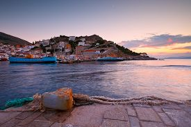 pic of hydra  - Boats mooring along a pier in harbour of Hydra - JPG
